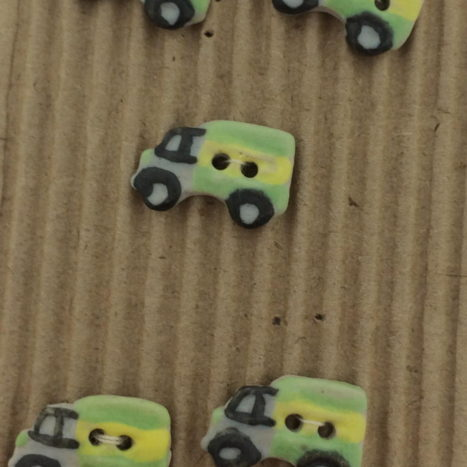Ceramic Buttons – 5 Green Little Lorry Buttons
