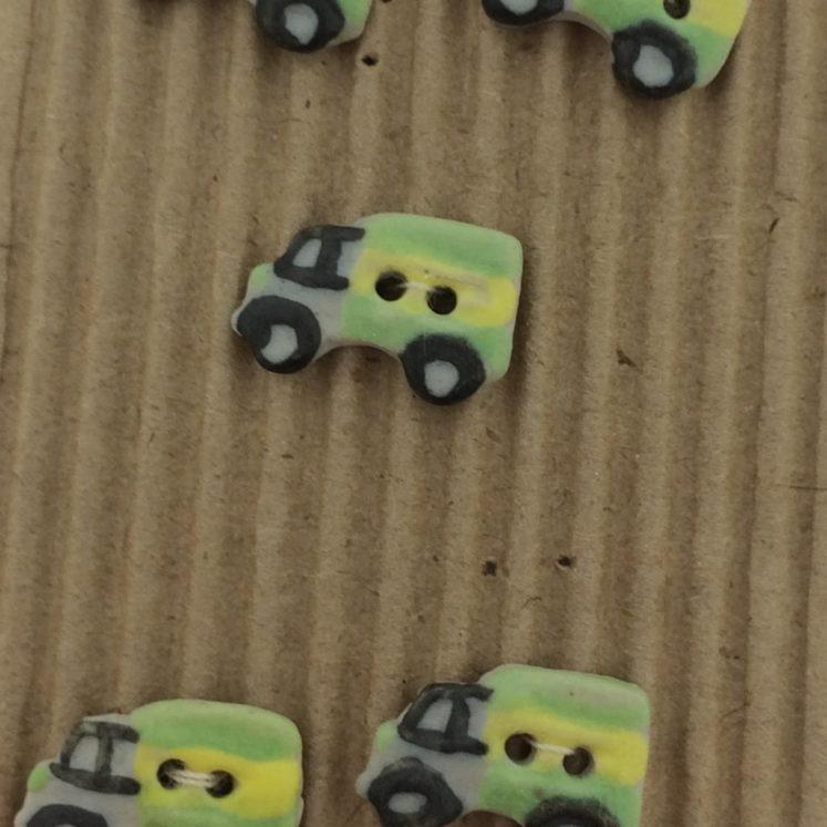 Ceramic Buttons – 5 Green Little Lorry Buttons