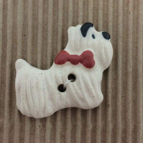 Ceramic Buttons – White Westie Dog Buttons (L63)
