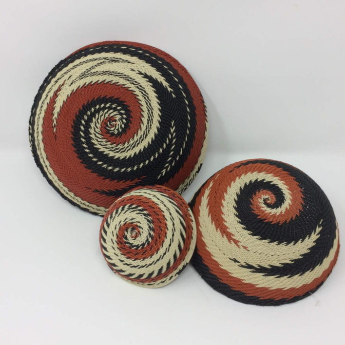 Telephone Wire Basket Set – Terracotta, Black and Cream