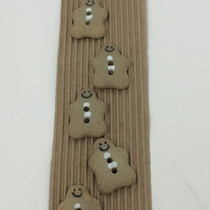 Ceramic Buttons – 5 Gingerbread Men