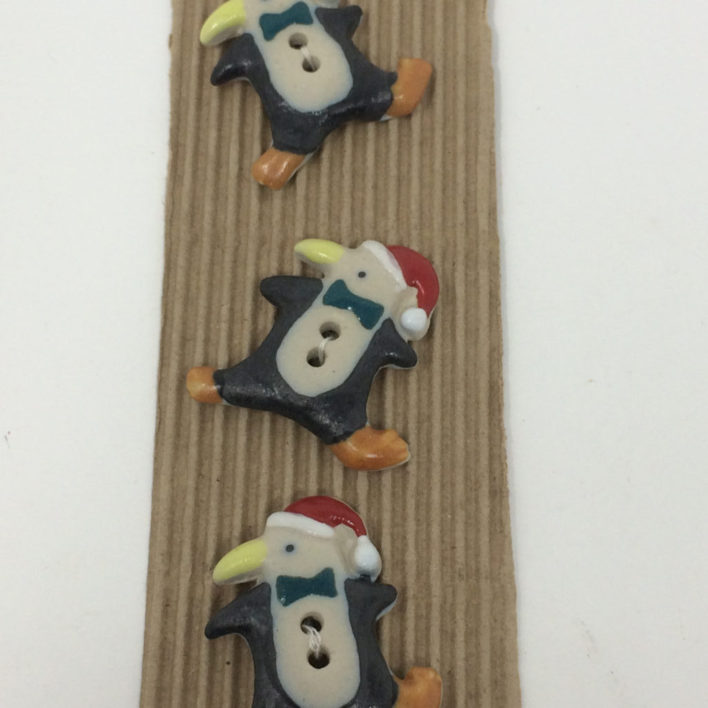Ceramic Buttons – Christmas Penguins