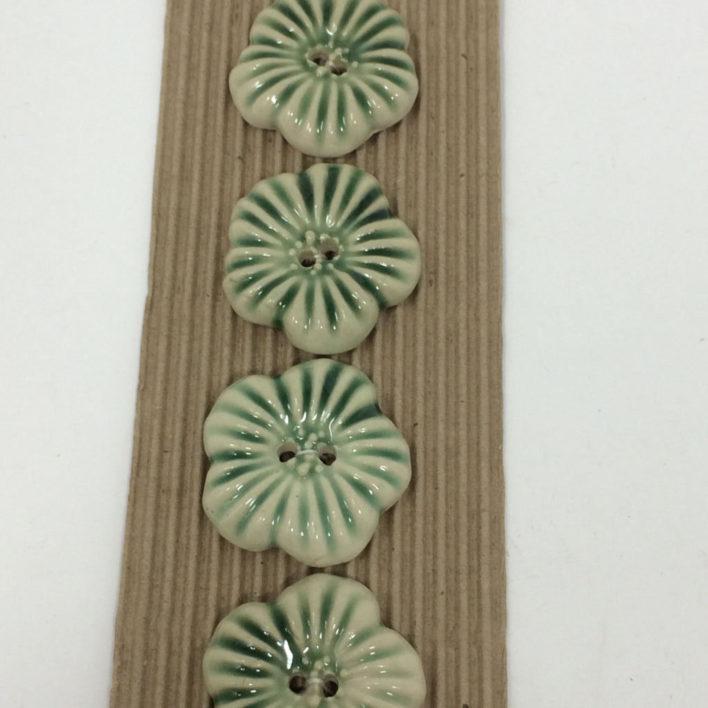 Ceramic Buttons – 4 Green  Flower Buttons
