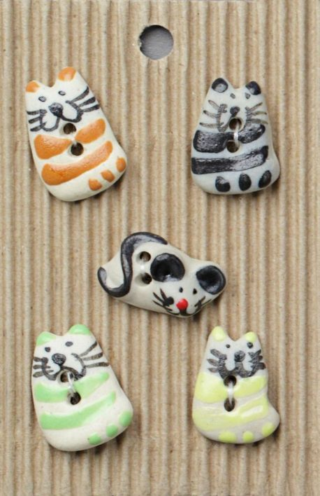 Ceramic Buttons – Mixed Cats and a Mouse L23