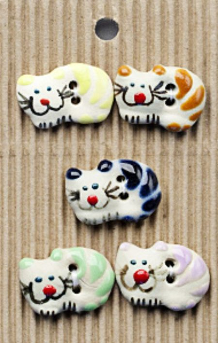 Ceramic Buttons – Mixed Cats L32