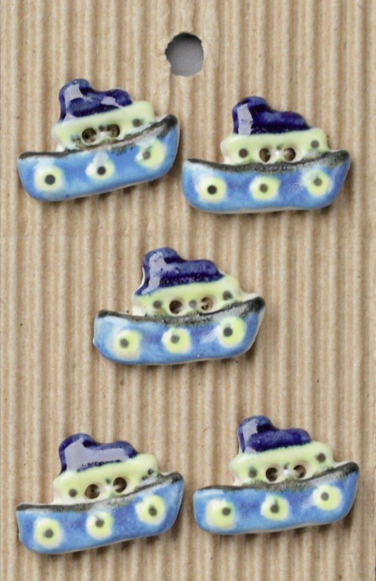 Ceramic Buttons – Blue Ship Buttons L77