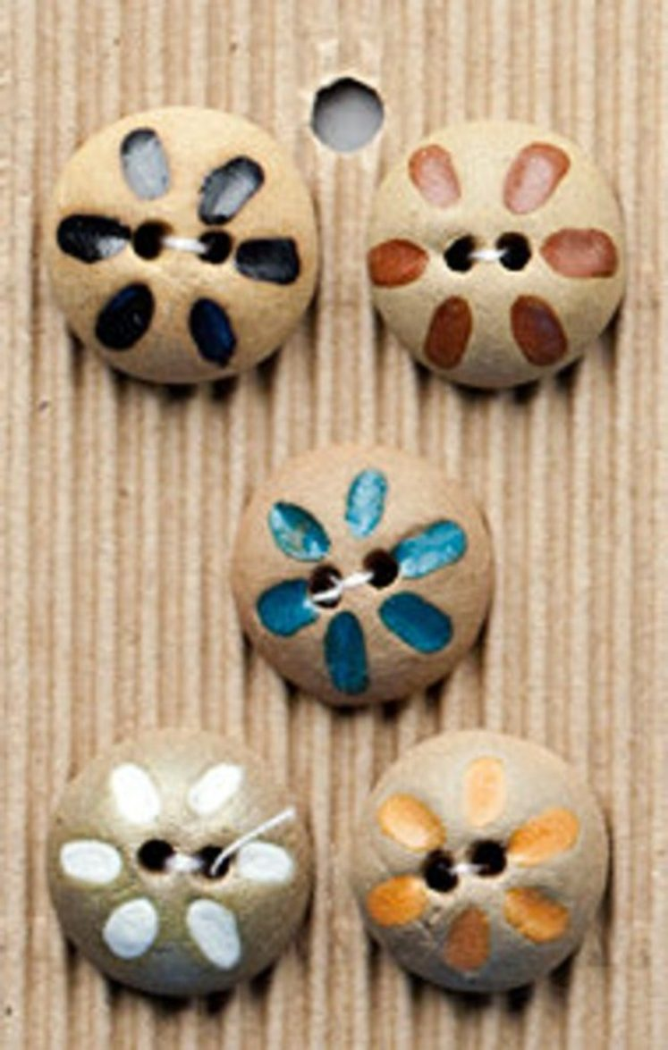 Ceramic Buttons – 5 Terracotta Mixed Colour Fashion Buttons,