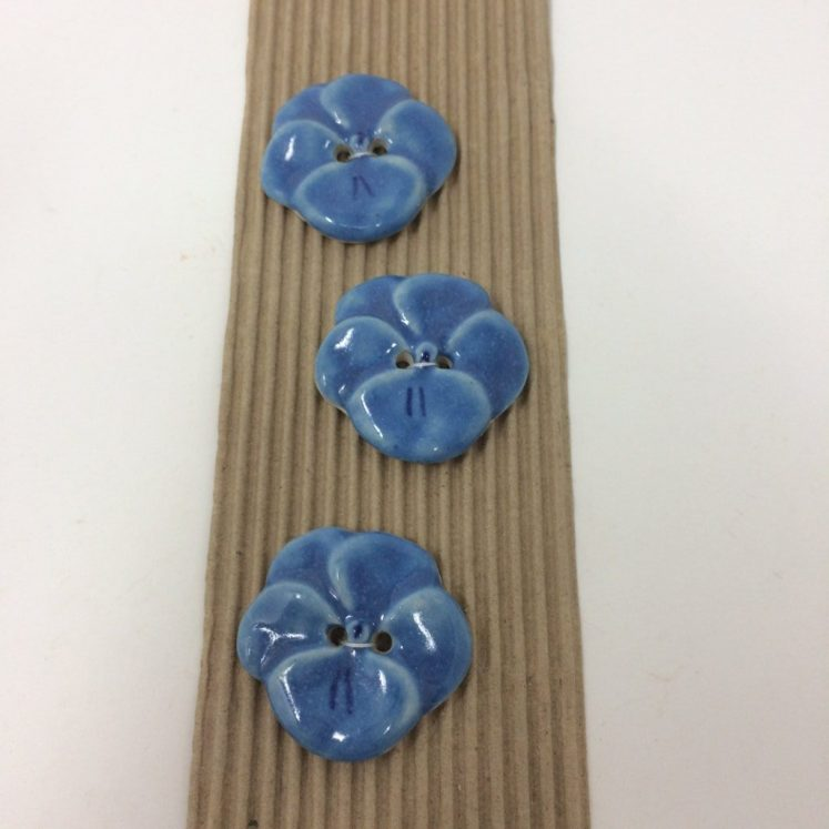 Ceramic Buttons – Blue Pansy