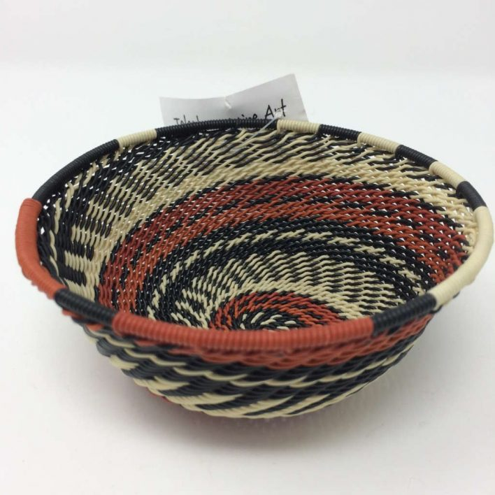 Telephone Wire Basket Terracotta, Black and Cream