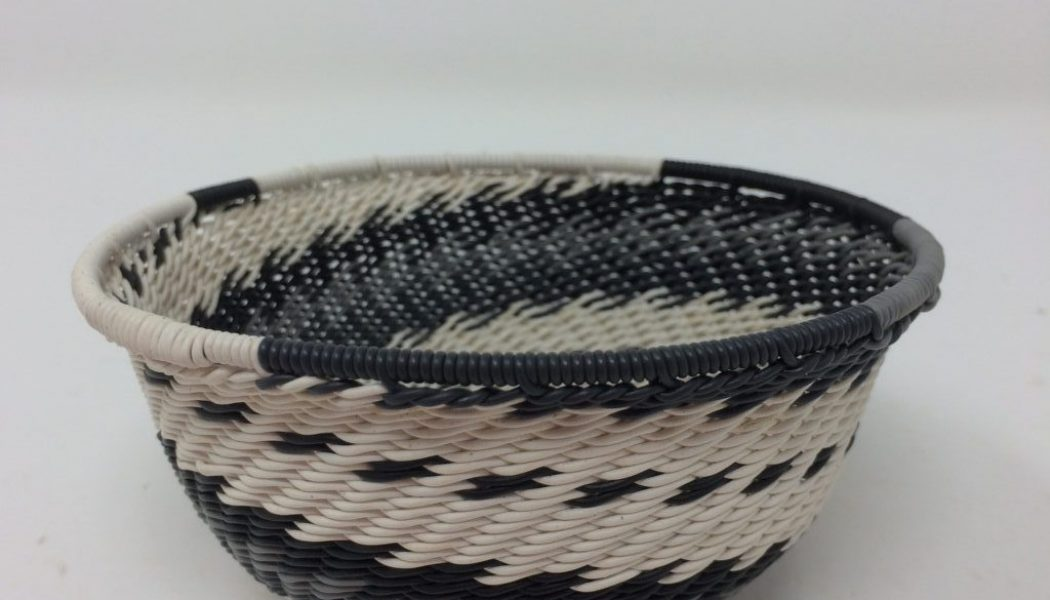 Telephone Wire Basket Black and White
