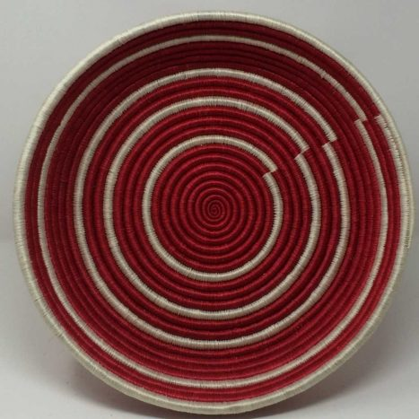 Rwandan Baskets – Large Tray Raspberry Spiral