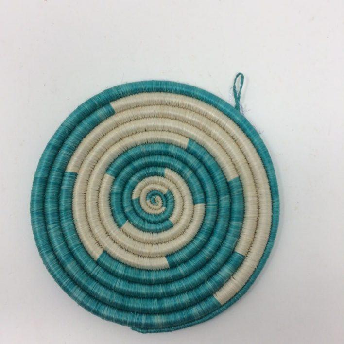 Rwandan Baskets – Small Mat Turquoise