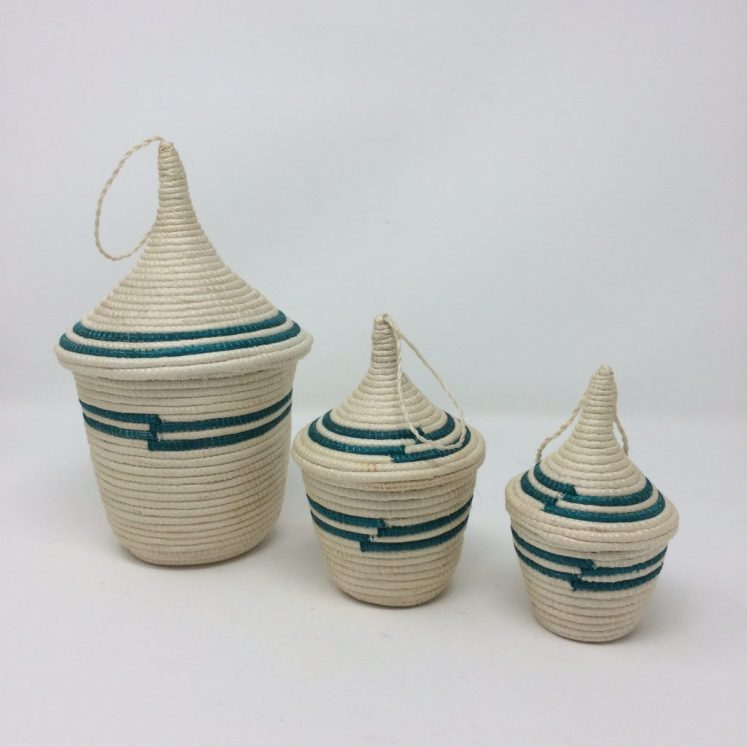 Agasake Peace Basket Trio – Nesting Set of 3 Turquoise