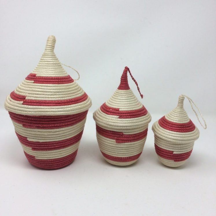 Agasake Peace Basket Trio – Nesting Set of 3 Red