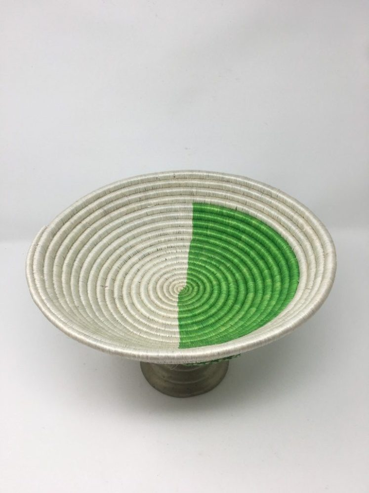 Rwandan Baskets – Bowl Simply Green and White