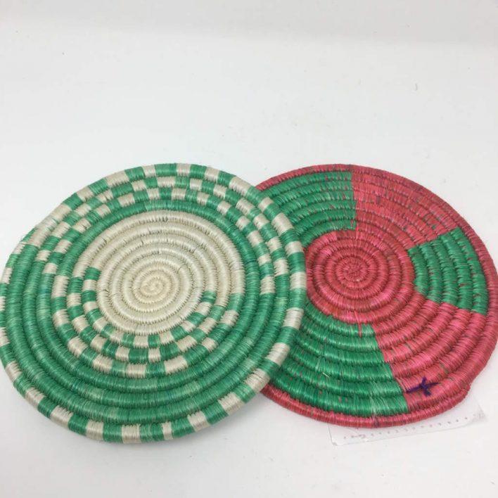 Rwandan Baskets – Small Mat Raspberry and Green