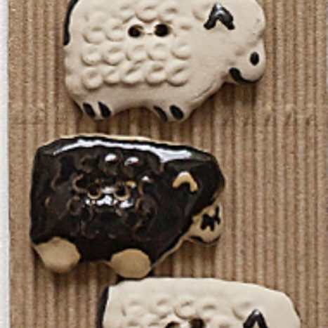 Ceramic Buttons Black and White Sheep L139