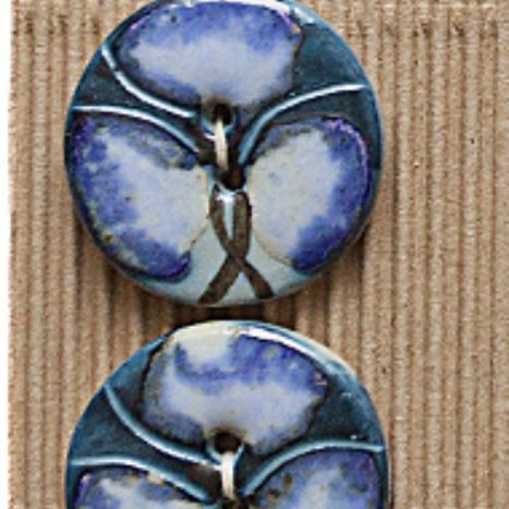 Ceramic Buttons Round Blue Pansy L295