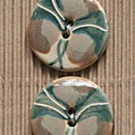 Ceramic Buttons Round Green Pansy L413