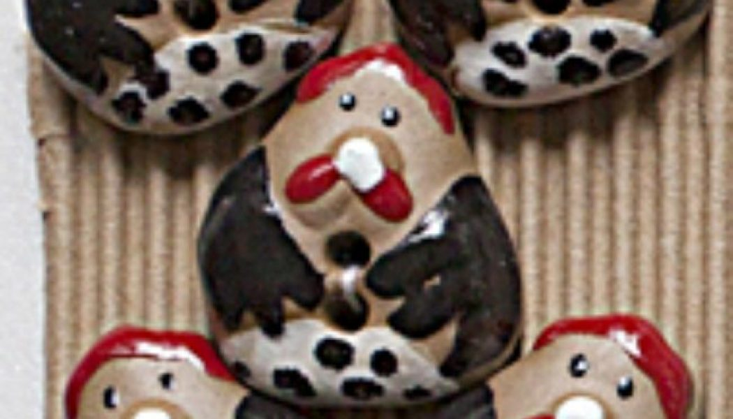 Ceramic Buttons Fat Hens L431