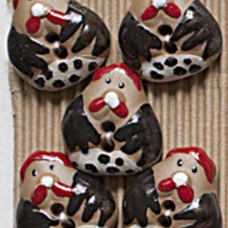 Ceramic Buttons Fat Hens L431