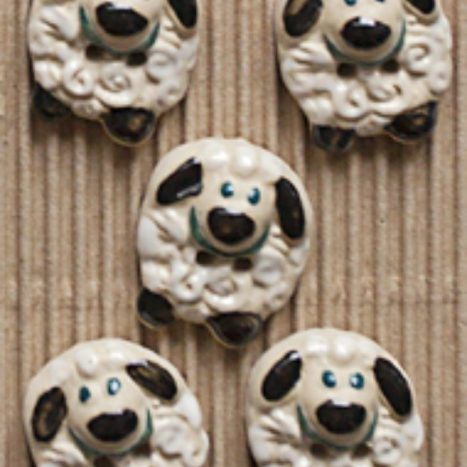 Ceramic Buttons Round Sheep L432