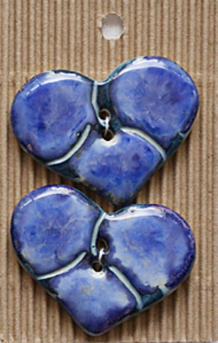 Ceramic Buttons Blue Pansy Hearts L485