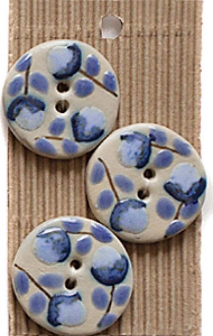 Ceramic Buttons Round Blue Floral L514