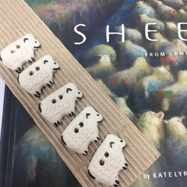 Ceramic Buttons White Sheep L137