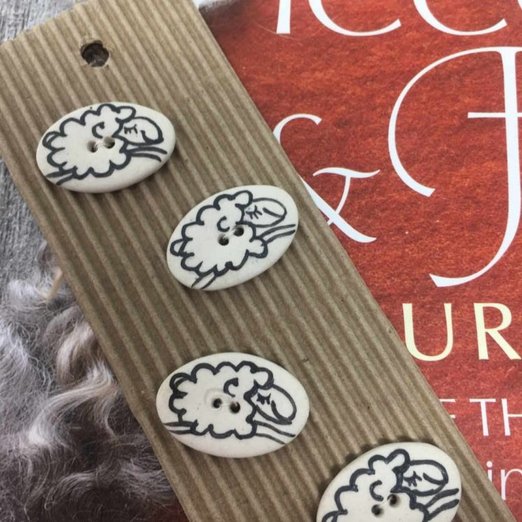 Ceramic Buttons Ditsy Sheep L142