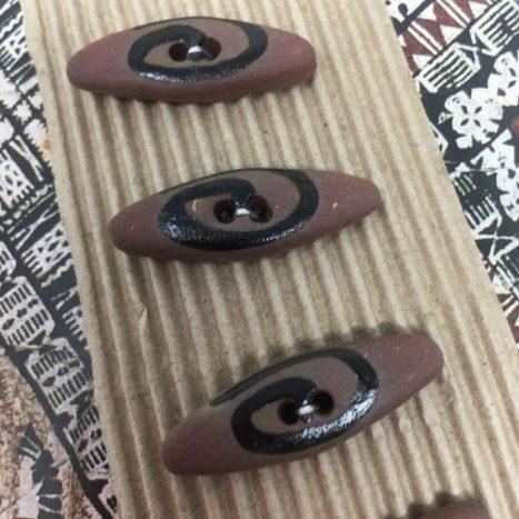 Ceramic Buttons Terracotta and Black Lozenge L405