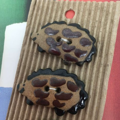Ceramic Buttons Brown Hedgehogs L117