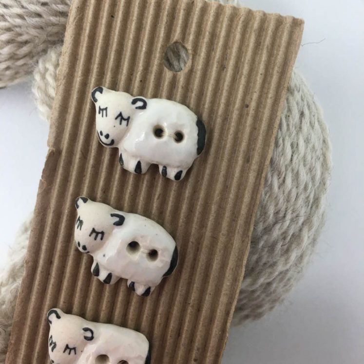 Ceramic Buttons Adorable Sheep L141