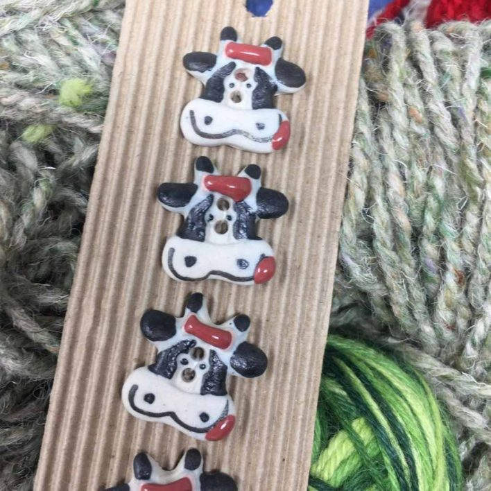 Ceramic Buttons Smiley Cow L144
