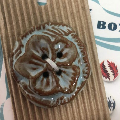 Ceramic Buttons Chunky Round Flower Glazed L505