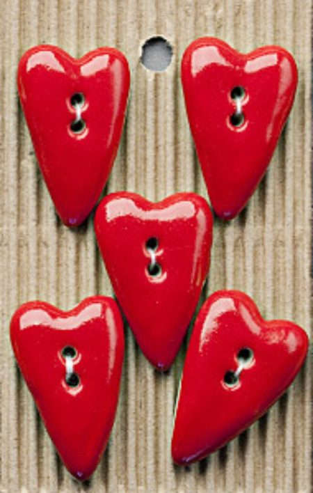 Ceramic Buttons Red Shaker Style Hearts L200