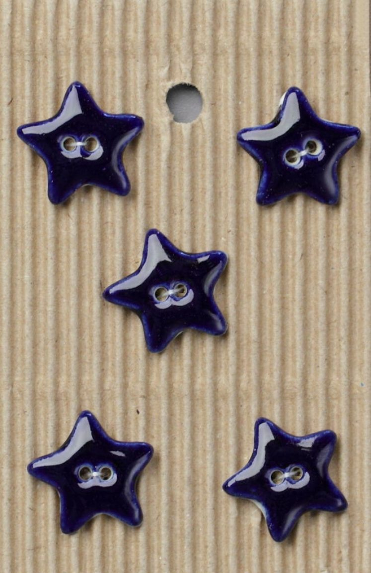 Ceramic Buttons Small Navy Stars L234