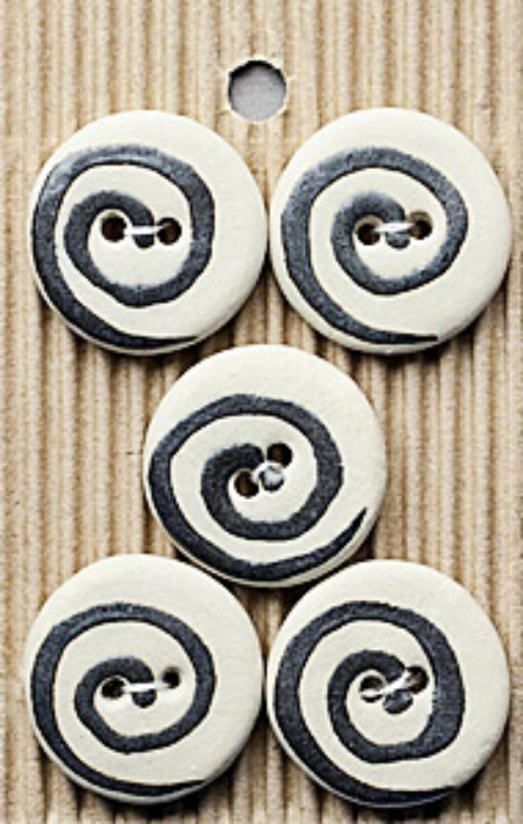 Ceramic Buttons Black and White Spiral Rounds L276
