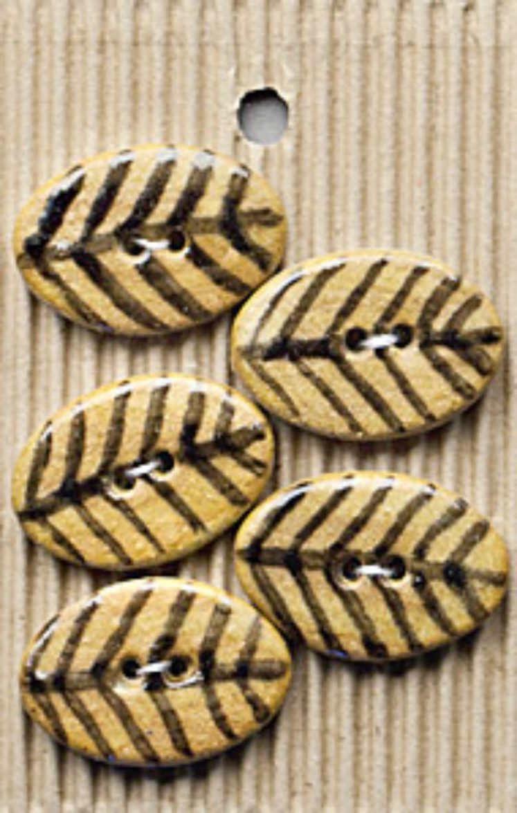 Ceramic Buttons Brown Glossy Oval with Leaf design L282
