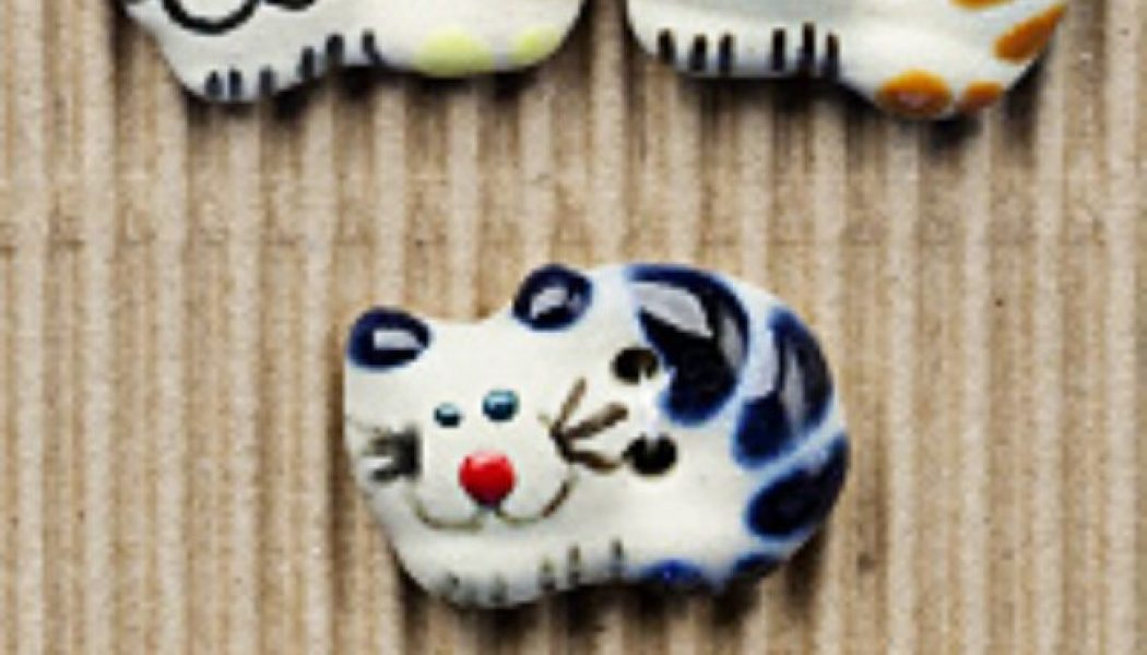 Ceramic Buttons Cute Cheshires L32