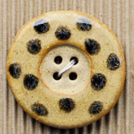 Ceramic Buttons Large Brown and Black Round Spot Button L331