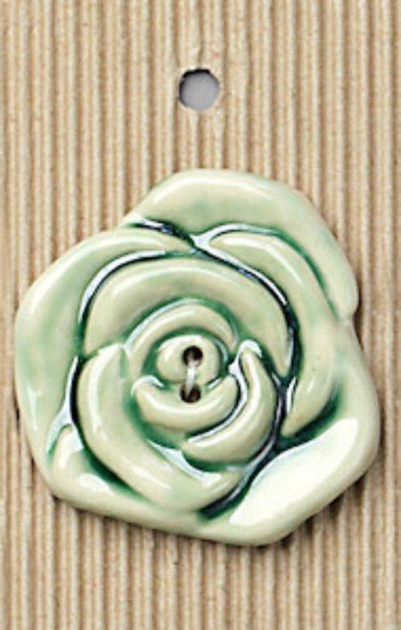 Ceramic Buttons Large Green Rose Design L339