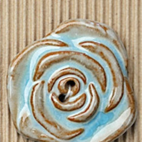 Ceramic Buttons Large Brown Rose Design L340