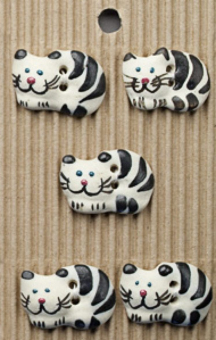 Ceramic Buttons Cheeky Black and White Cats L34