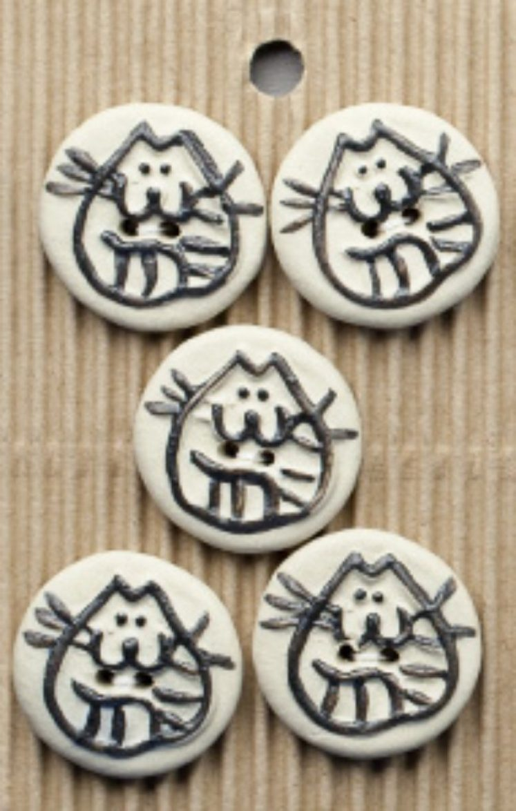 Ceramic Buttons Round Cat Buttons L39