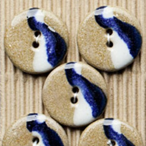 Ceramic Buttons Brown,Blue, White Round L412