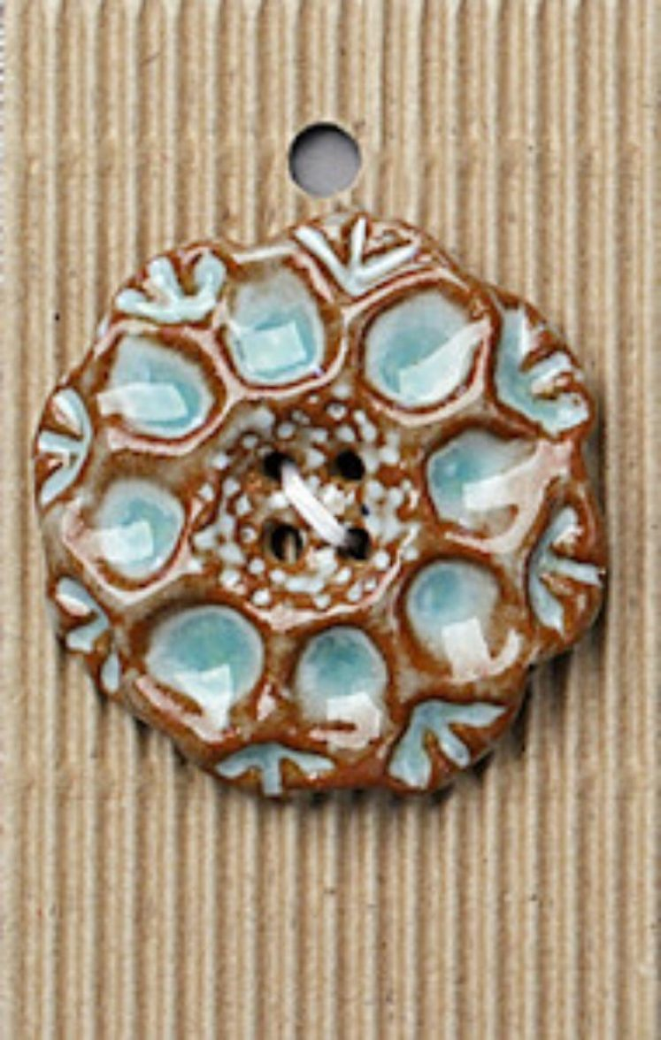 Ceramic Buttons Large Brown and Turquoise L524