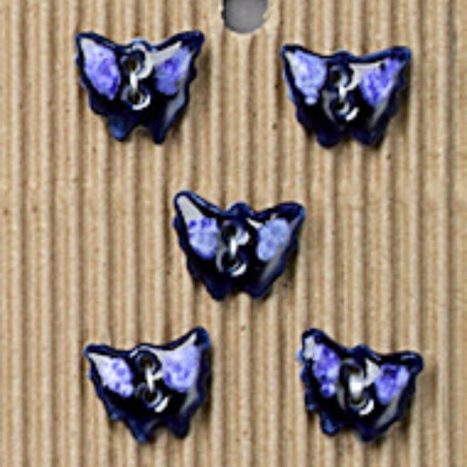 Ceramic Buttons Small Blue Butterflies L529