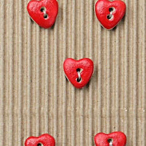 Ceramic Buttons Small Red Hearts L534