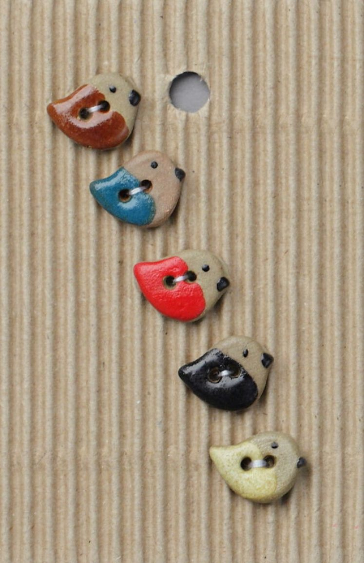 Ceramic Buttons Assorted Coloured Sparrows L546